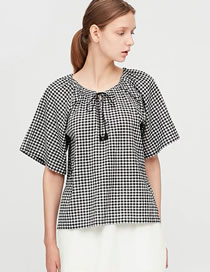 Fashion Black Lattice Pleated Shirt With Small Lattice Frenulum
