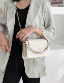 Fashion White Chain Flip Shoulder Bag