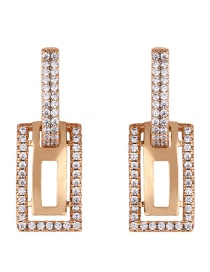 Fashion Rose Gold Copper Inlay Zircon Double Ring Diamond Stud Earrings