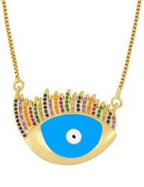 Fashion Blue Zirconium Necklace With Dripping Eyes