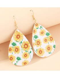 Fashion Yellow Flowers Litchi Print Water Drop Pu Leather Sunflower Flower Butterfly Earrings
