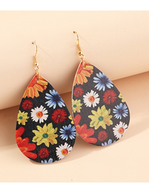 Fashion Color Mixing Of Flowers Litchi Print Water Drop Pu Leather Sunflower Flower Butterfly Earrings