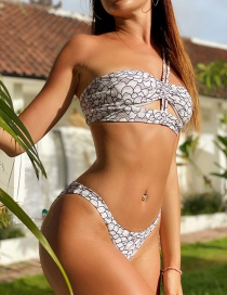 Fashion Printing Low-waist Split Swimsuit With Floral Print Straps