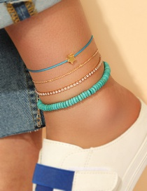 Fashion Green Turquoise Anklet Set With Rhinestones And Pentagrams