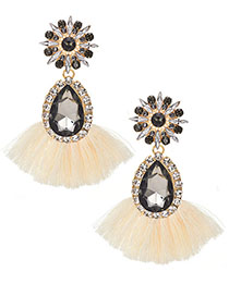 Fashion Rice White Alloy Drill With Drip Cotton Thread Fringed Ear Studs