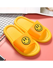 Fashion Yellow Non-slip Smiley Face Indoor And Outdoor Parent-child Slippers