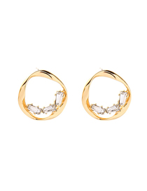 Fashion Golden Twisted Circle Alloy Earrings