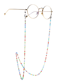 Fashion Silver Colorful Crystal Stainless Steel Chain Non-slip Glasses Chain