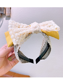 Fashion Yellow Lace Wide-sided Double-layer Bow-knot-knot Anti-slip Headband