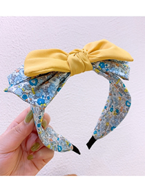 Fashion Bright Yellow Flower Printing Double Layer Bow-knot-knot Headband