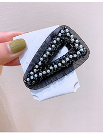 Fashion Black Geometric Rhinestone And Pearl Lace Hairpin