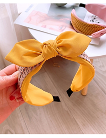 Fashion Yellow Light Raindrop Bow Contrast Color Stitching Headband