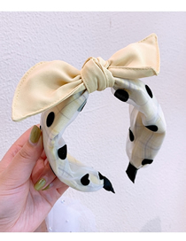 Fashion Yellow Polka Dot Mesh Yarn Bow Contrast Wide-brimmed Headband