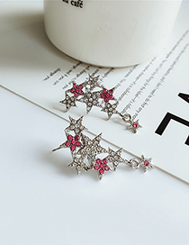 Fashion White Five-pointed Star Diamond Earrings