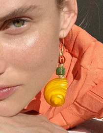 Fashion Yellow Conch Geometric Alloy Earrings