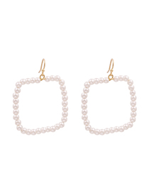 Fashion White Geometric Square Pearl Earrings