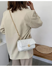 Fashion White Chain Embroidered Rhombus Shoulder Bag
