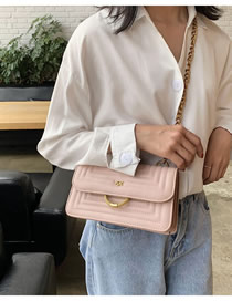 Fashion Pink Large Chain Quilted Embroidery Shoulder Bag