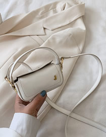 Fashion White Embroidered Metal Letter Shoulder Bag