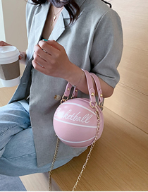Fashion Pink Spherical Printed Letter Chain Shoulder Messenger Bag