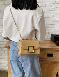 Fashion Yellow Chain Rivet Embroidered Thread Shoulder Bag