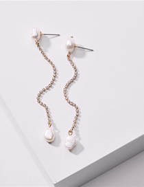 Fashion White Pearl Natural Freshwater Pearl And Diamond Claw Chain Earrings