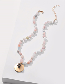 Fashion Color Natural Stone Playing With Gold Short Necklace
