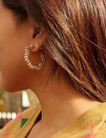 Fashion Golden Geometric Weave Winding Golden Beads Earrings