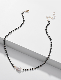 Fashion Black Natural Shell Pearl Crystal Bead Alloy Necklace