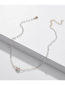 Fashion White Natural Shell Pearl Crystal Bead Alloy Necklace