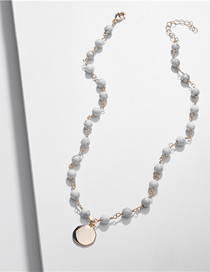 Fashion Gray Natural Stone Beads Alloy Chain Necklace