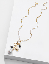 Fashion Golden Natural Heart-shaped Stone Shell Pearl Alloy Necklace