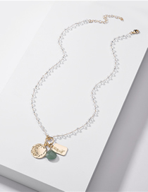 Fashion Green Natural Heart Shaped Stone Coin Crystal Bead Chain Necklace