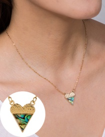 Fashion Golden Love Stitching Abalone Shell Alloy Necklace
