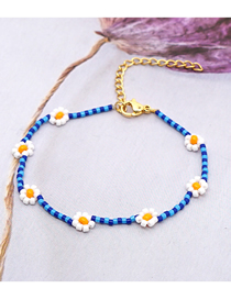 Fashion Navy Blue Imported Rice Beads Hand-woven Flower Bracelet