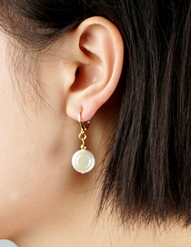Fashion White Natural Freshwater Pearl Alloy Earrings