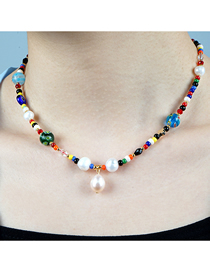 Fashion Color Mixing Natural Freshwater Pearl Crystal Rice Pearl Glass Thousand Flower Bead Necklace