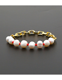Fashion Red Natural Freshwater Pearl Color Retaining Large Gold Chain Bracelet