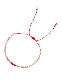Fashion Pink Stitching Rice Beads Hand-woven Crystal Adjustable Bracelet