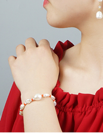 Fashion White Rice Pearl Natural Freshwater Pearl Gold-plated Color Retaining Bracelet