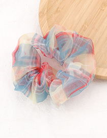 Fashion Red Yellow Blue Striped Lattice Organza Large Intestine Loop Hair Rope