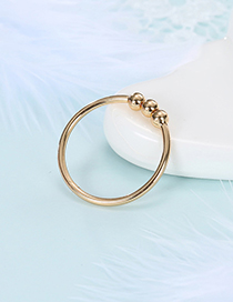 Fashion Golden Round Bead Alloy Smooth Ring