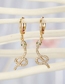 Fashion Golden White Snake Micro-set Zircon Alloy Snake Earrings