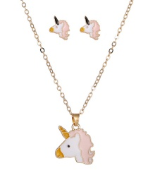 Fashion Pink Dripping Unicorn Alloy Earring Necklace Set