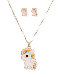 Fashion White Unicorn Play Dripping Oil Contrast Color Alloy Earrings Necklace Set