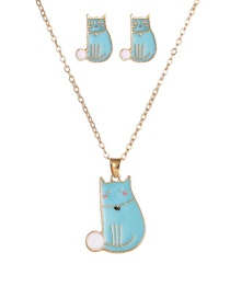 Fashion Blue Dripping Cat Contrast Alloy Earring Necklace Set