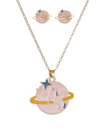 Fashion Pink Planetary Unicorn Play Oil Drop Color Alloy Earrings Necklace Set