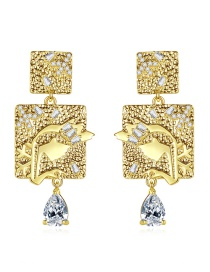 Fashion 18k Geometrical Shape Diamond Earrings