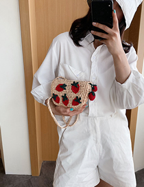 Fashion Red Knitted Strawberry Woven Shoulder Crossbody Bag