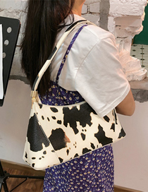 Fashion White Cow Print Shoulder Shoulder Bag
